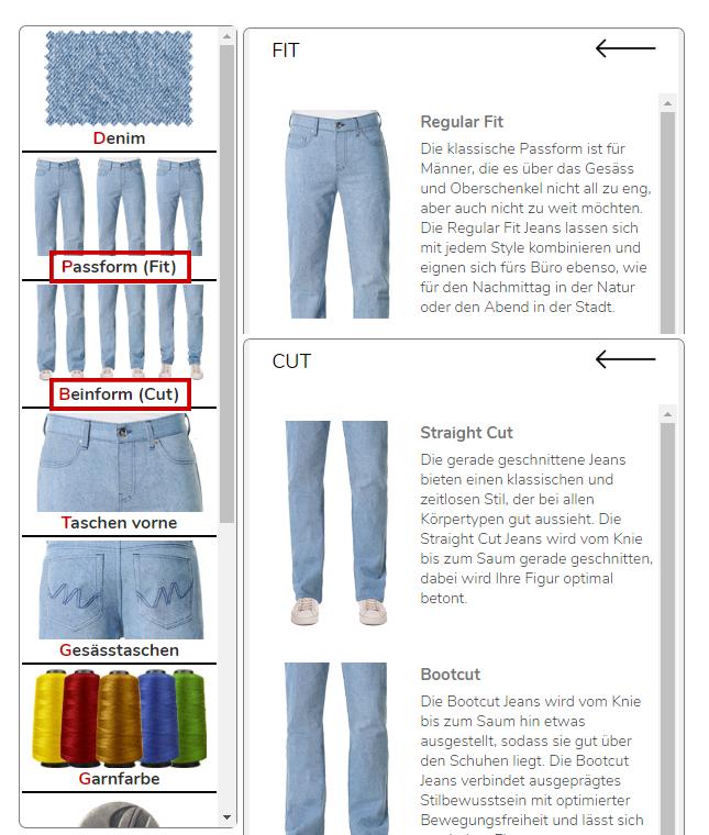Jeans de, bestimme die Passform selber